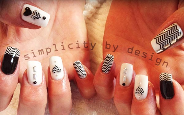 black and white french hearts chevron nails