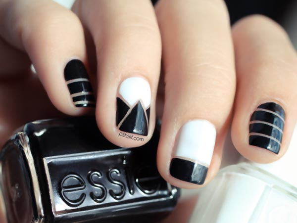black and white geometry easy nails