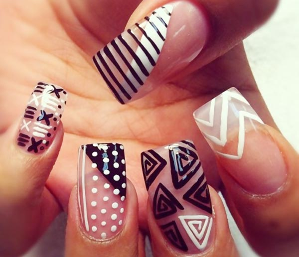 black and white geometry long nails