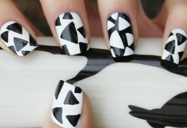 black and white graphic nails