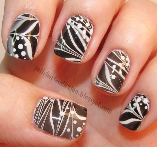 black and white marbled nails