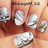 black and white simple art nails