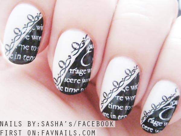 black and white newspaper retro nails