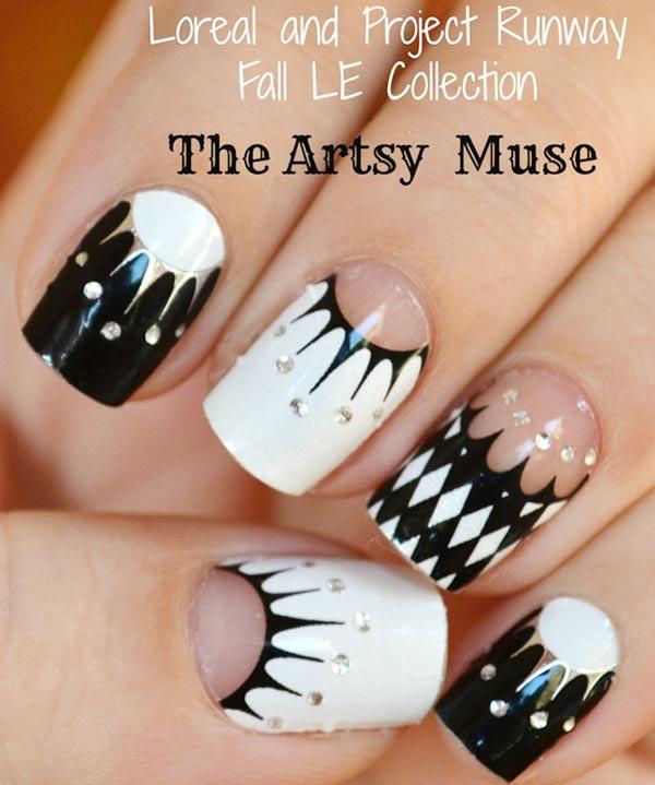 black and white rhinestones artistic nails