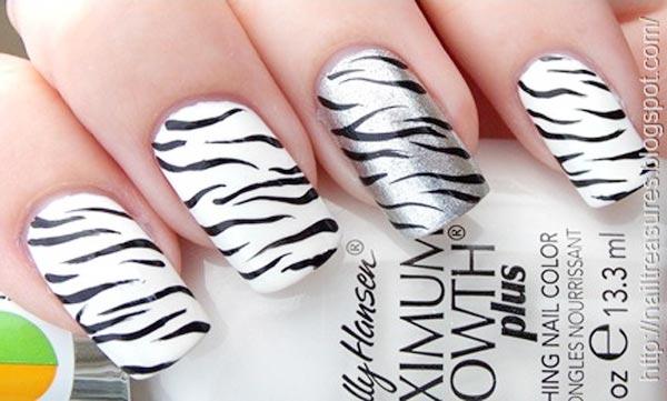 black and white silver zebra nails