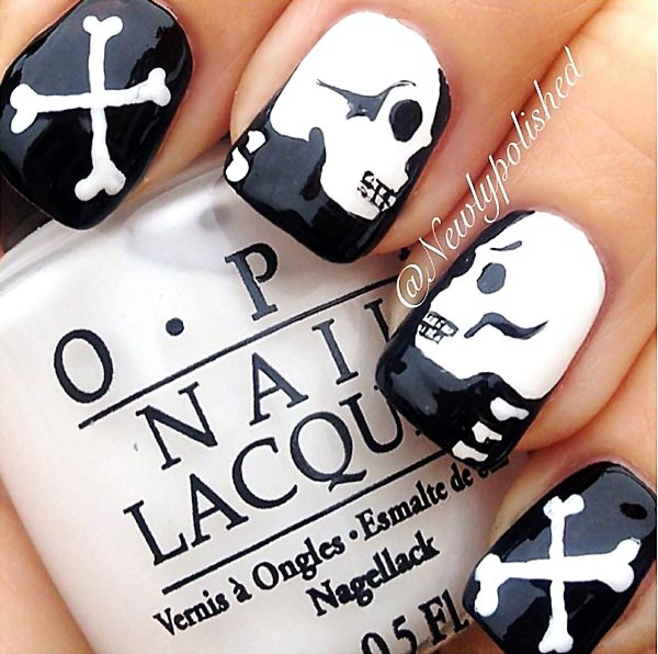 skull bones black and white halloween nails