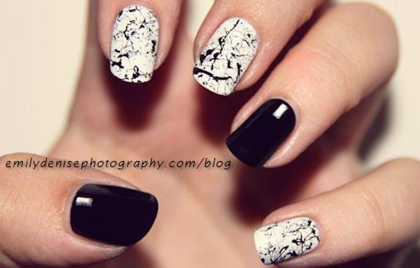 black and white splatter nails