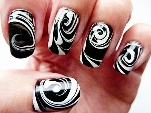 black and white swirl nails