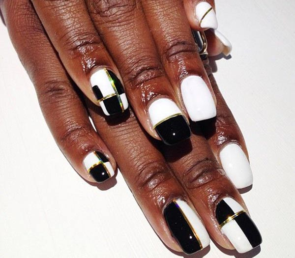 black and white tape nails