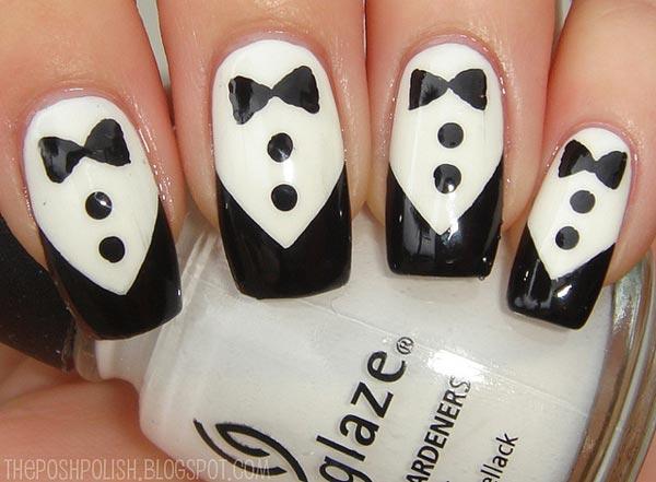 black and white tuxedo nails