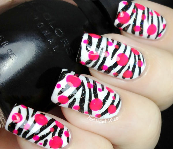 black and white zebras pink dots nails