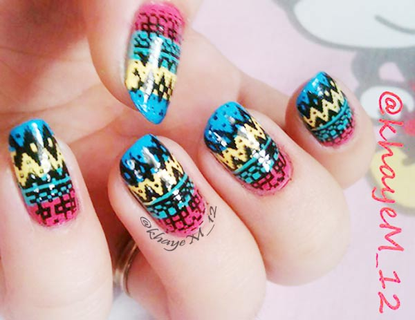 black aztec colorful striped nails
