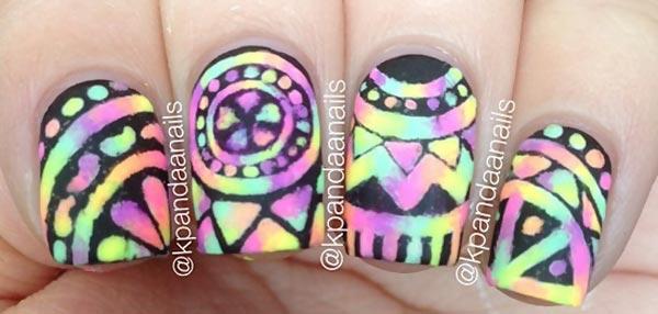 black aztec over neon tie dye nails