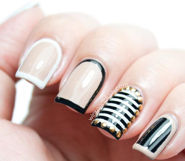 black beige striped studded framed nails