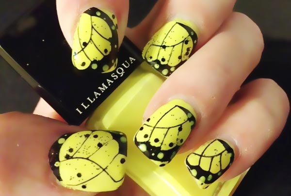 black butterfly wings yellow spring nails