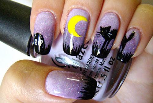black cat purple night nails