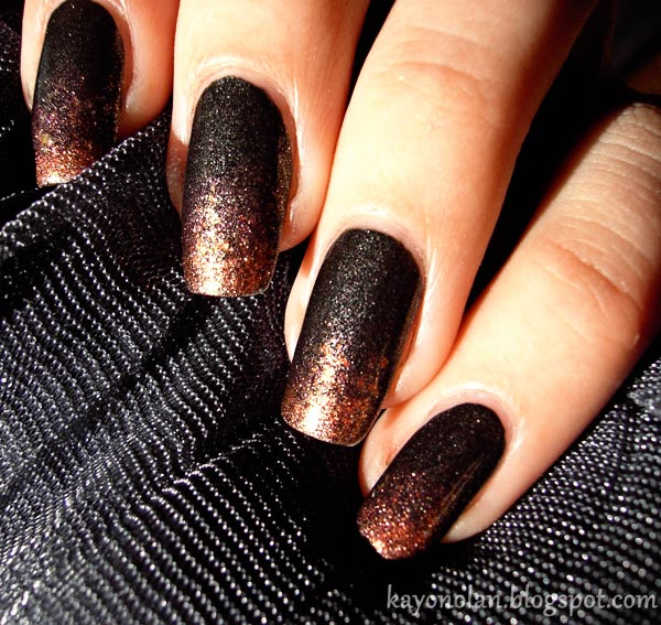 black copper gradient nails - Favnails