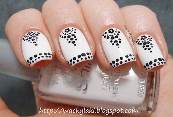 black dots flowers on white nails