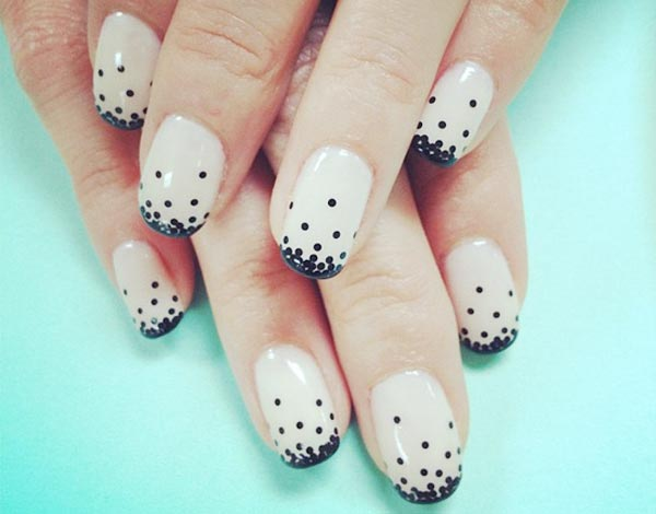 black dots gradient beige french nails