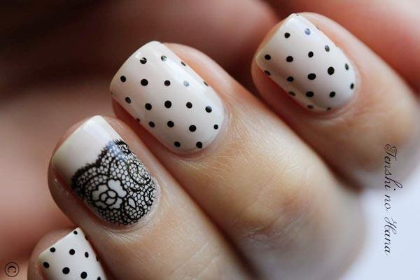 black dots lace nails