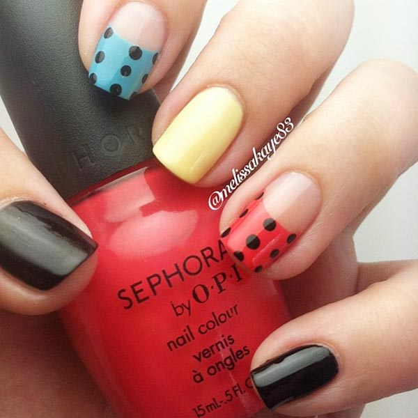 black dots red blue yellow nails