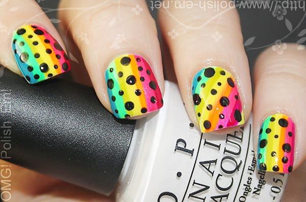 black dots striped neon rainbow nails