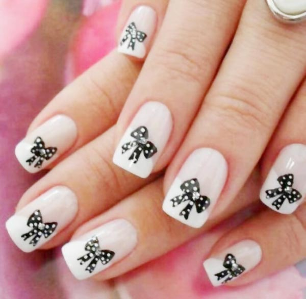 black dotted bows classy french nails
