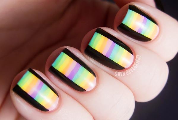 black edges striped pastel nails