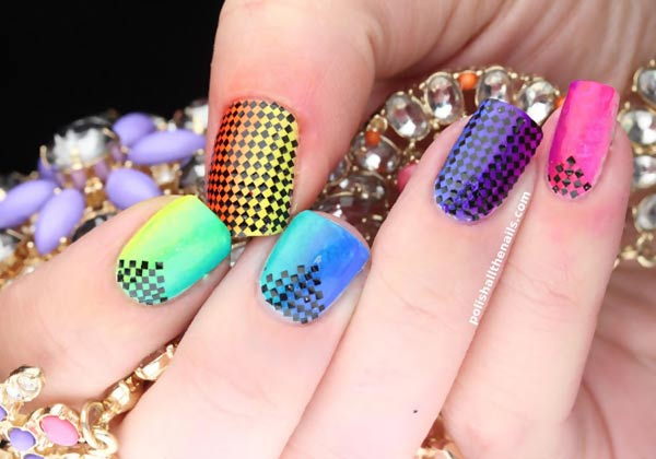 black glitter accent rainbow gradient nails