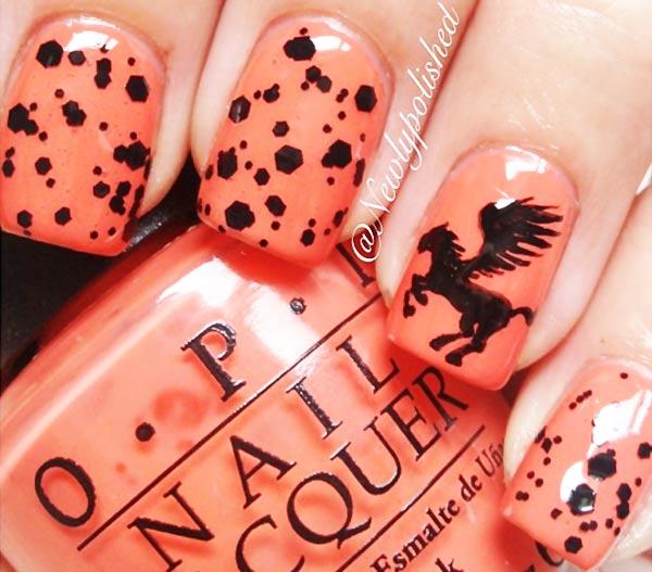 black glitter pegasus coral nails