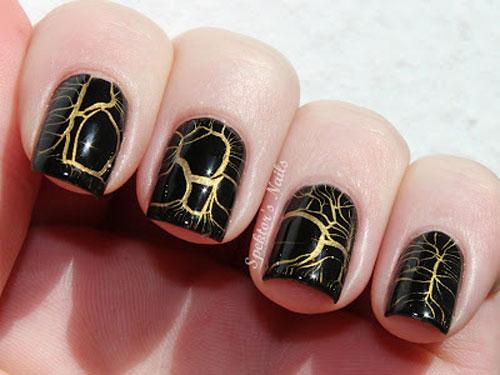 black gold crackle nails