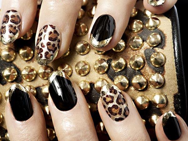 black gold leopard party nails