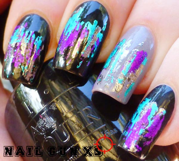 black gray iridescent foil art nails