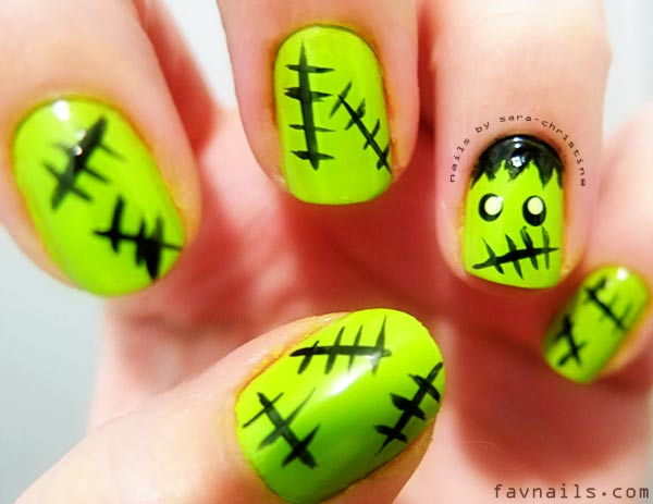 black green frankenstein halloween nails