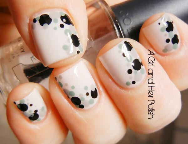 black grey dots accents nude nails