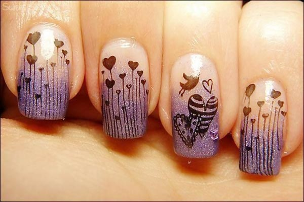 black hearts stamped purple gradient nails