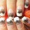 black lace glitter stripe french nails