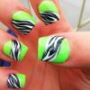 lime green black zebra accent summer nails