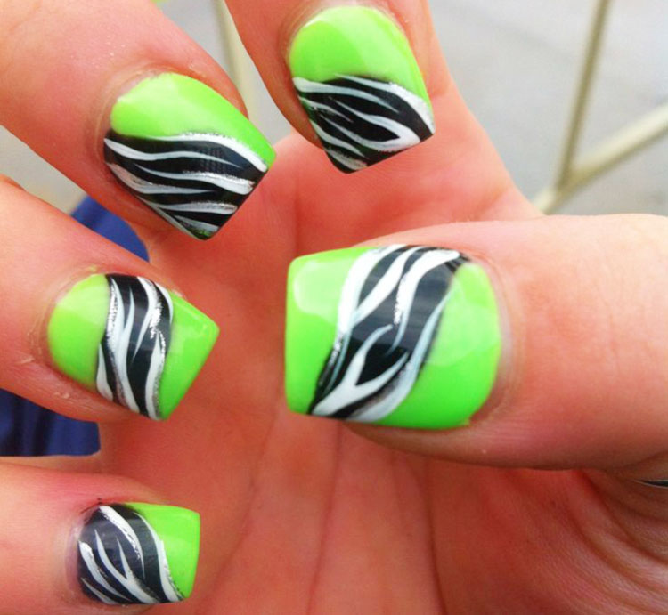 lime green black zebra accent summer nails
