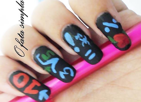 black matte chalkboard school nails