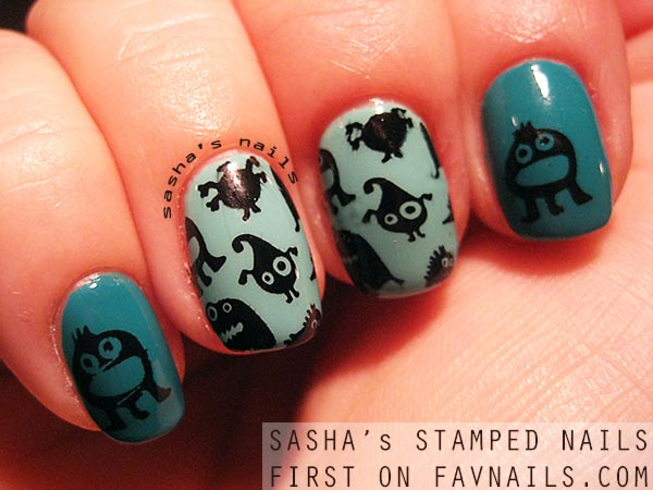 black monsters green stamped halloween nails