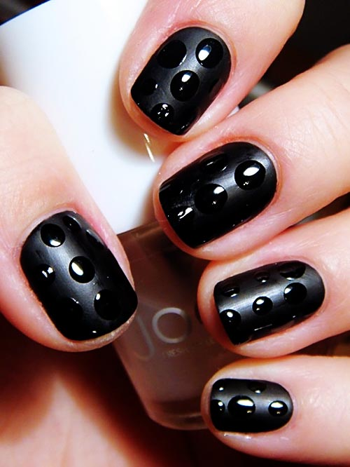 black on black dots nails