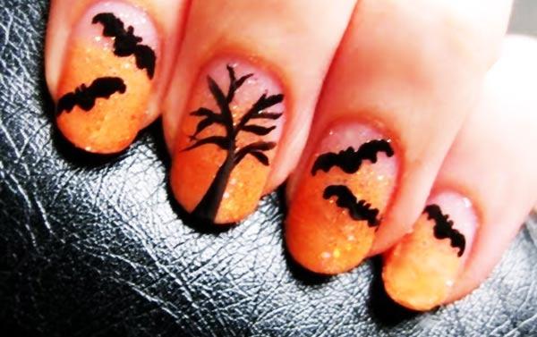 black orange glitter gradient halloween nails