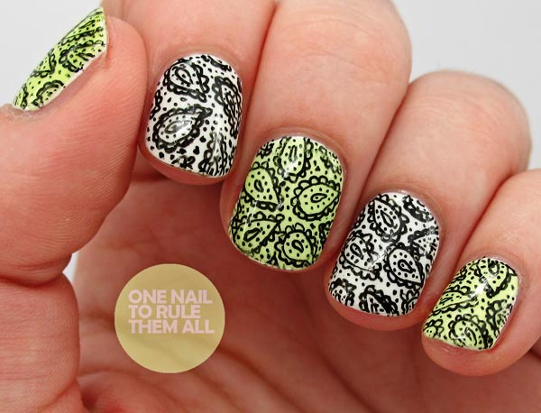 black paisley nails
