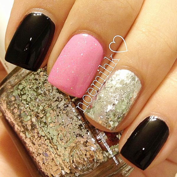 The gallery for --> Black And Pink Sparkly Nails