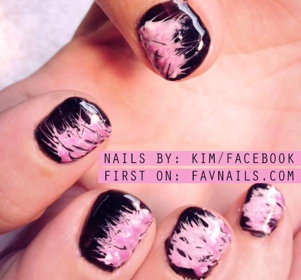 black pink needle marbled nails
