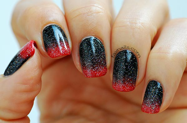 black red holo topcoat gradient festive nails