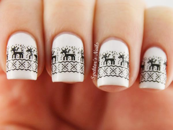 black reindeer winter white nails