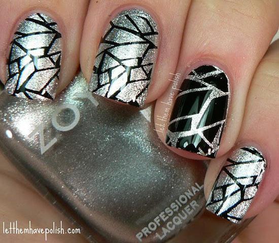 black silver crackle nails