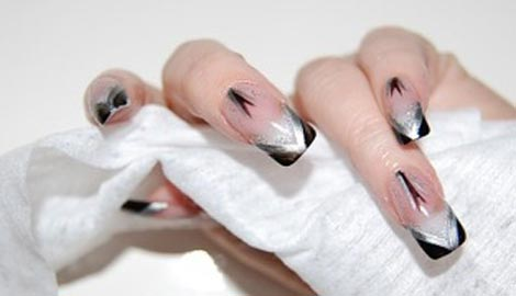black silver french nails